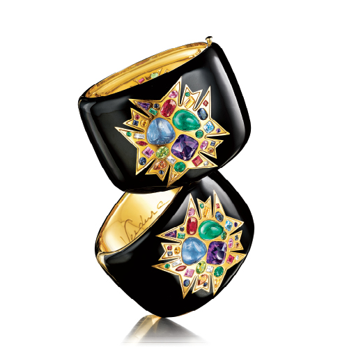 Verdura-Jewelry-Theodora-Cuffs-Stacked-Gold-Enamel