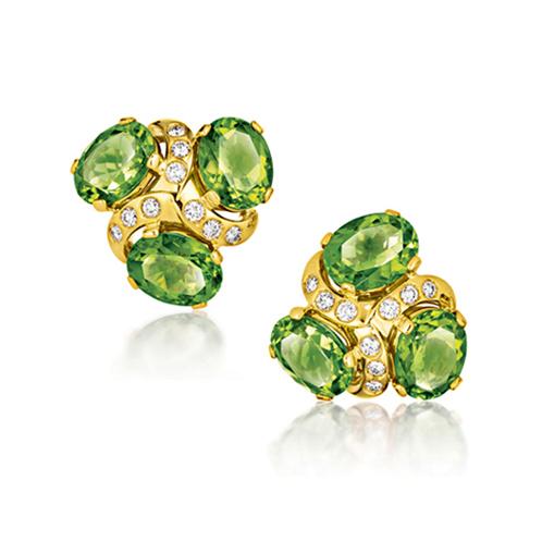 Verdura-Jewelry-Three-Stone-Earclips-Gold-Peridot-Diamond