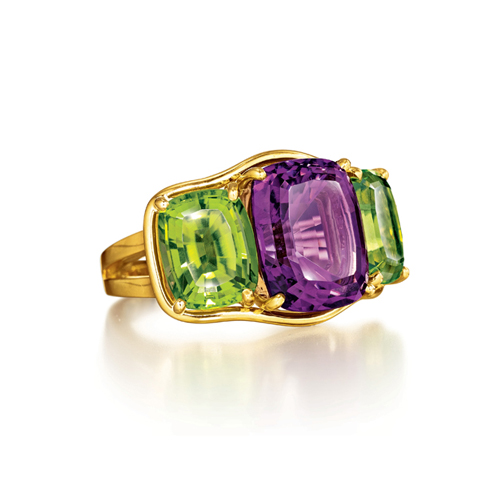 Verdura-Jewelry-Three-Stone-Ring-Gold-Amethyst-Peridot