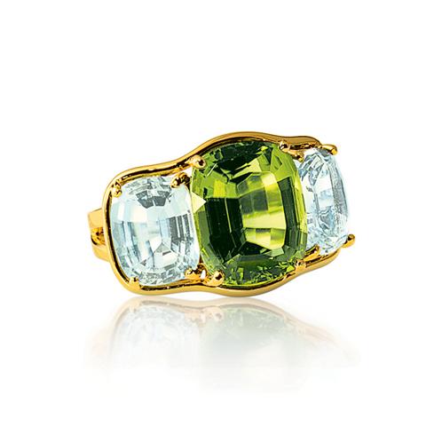 Verdura-Jewelry-Three-Stone-Ring-Gold-Peridot-Blue-Topaz