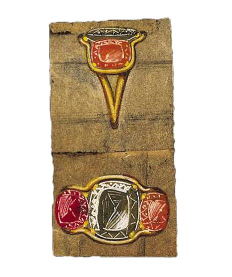 Verdura-Jewelry-Three-Stone-Ring-Sketch-Portrait