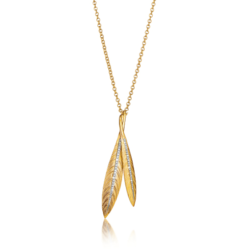 Verdura-Jewelry-Tiara-Feather-Pendent-Necklace-Gold-Diamond