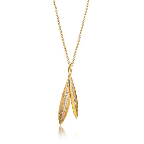 Verdura-Jewelry-Tiara-Feather-Pendent-Necklace-Gold-Diamond