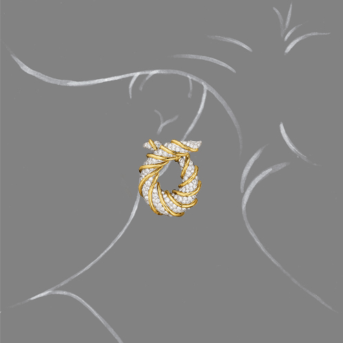 Verdura-Jewelry-Twisted-Horn-Earclip-Gold-Diamond-Scale-Rendering