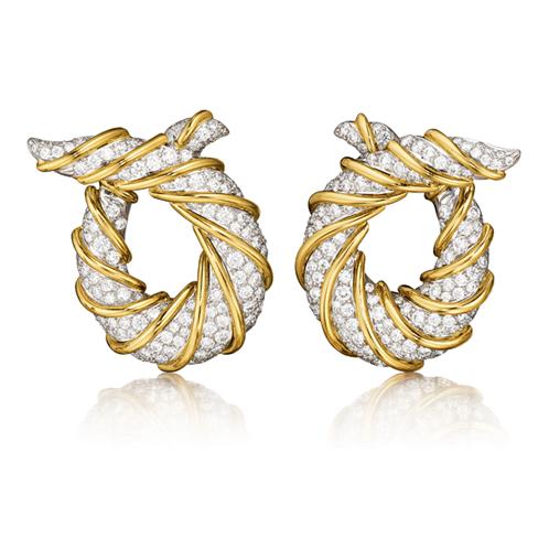 Verdura-Jewelry-Twisted-Horn-Earclips-Gold-Platinum-Diamond