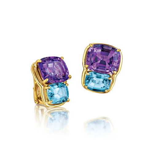 Verdura-Jewelry-Two-Stone-Earclips-Gold-Amethyst-Blue-Topaz