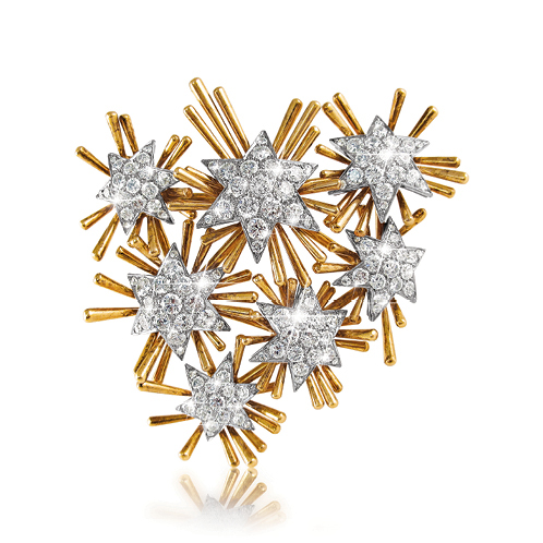 Verdura-Jewelry-Vintage-Pleiades-Brooch-Gold-Diamond