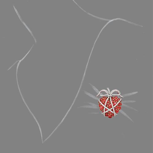 Verdura-Jewelry-Wrapped-Heart-Brooch-Ruby-Scale-Rendering