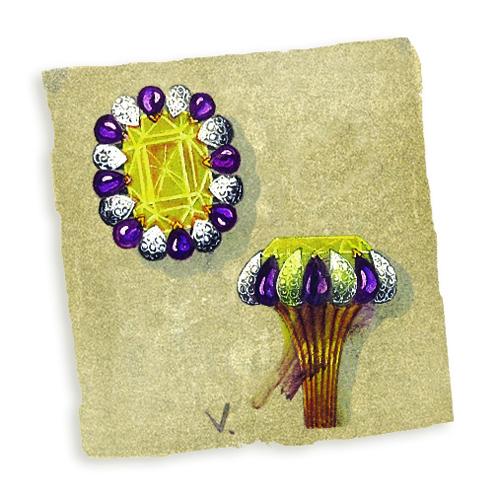 Verdura-Jewelry-Vintage Raja-Ring-Sketch