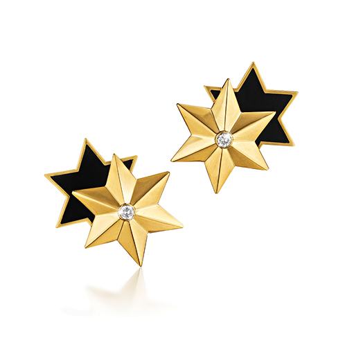 Verdura-Jewelry-Star-Earclips-Gold-Black-Enamel