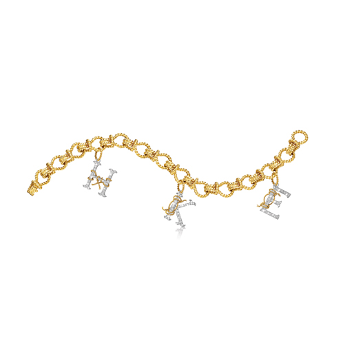 Verdura-Jewelry-Initial-Charm-Bracelet-HKE-Gold-Diamond