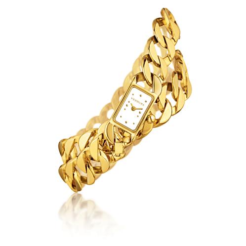 Curb-Link Bracelet & Watch - gold balls2
