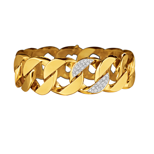 Curb-Link Bracelet_Gold-Diamond