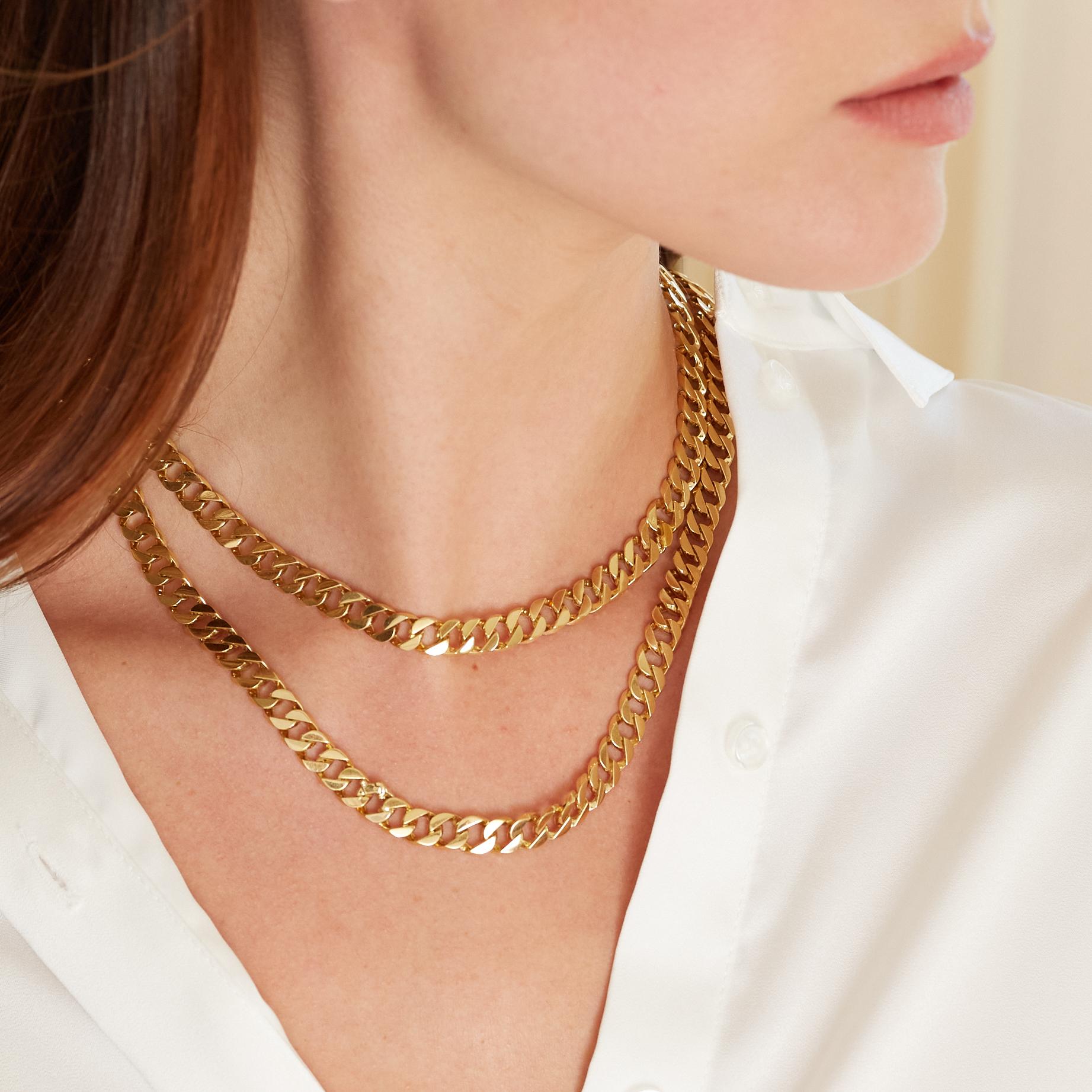 Mini Double Wrap Curb-Link Necklace